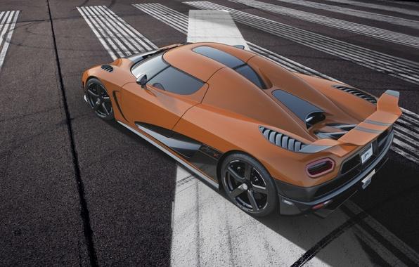 Картинка оранжевый, разметка, Koenigsegg, суперкар, спойлер, вид сзади, антикрыло, гиперкар, агера р, кёнигсегг, Agera R