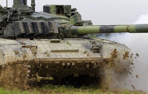 Картинка поле, грязь, танк, боевой, Т-72