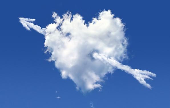 Картинка небо, рендеринг, сердце, облако, стрела