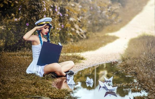 Картинка девушка, ситуация, кораблики