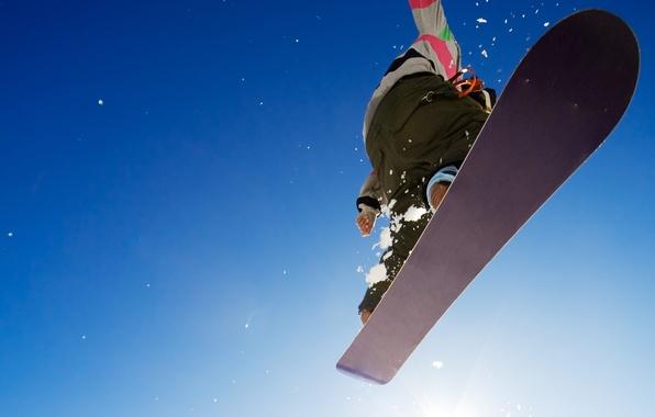 Картинка зима, небо, фон, прыжок, обои, сноуборд, спорт, парень, экстрим, адреналин, картинка