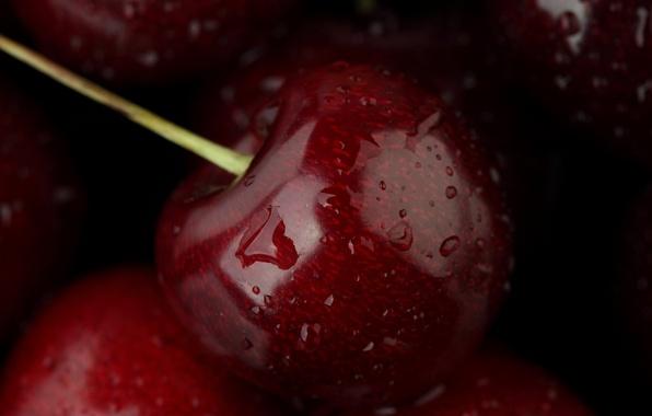 Картинка вода, капли, макро, еда, фрукт, черешня, water, food, macro, fruit, 1920x1080, cherry, drops