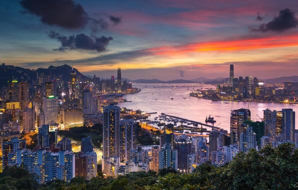 Картинка город, Гонконг, Китай, Braemar Hill, вечерняя зоря, Victoria Harbour