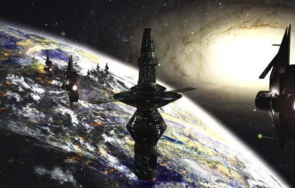 Картинка космос, будущее, планета, корабли, звёзды, галактика, space, станции, stars, sci-fi, planet, galaxy, ships, научная фантастика, ...