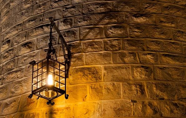Картинка light, metal, wall, lantern, brick, light bulb, Wall lamp, curved