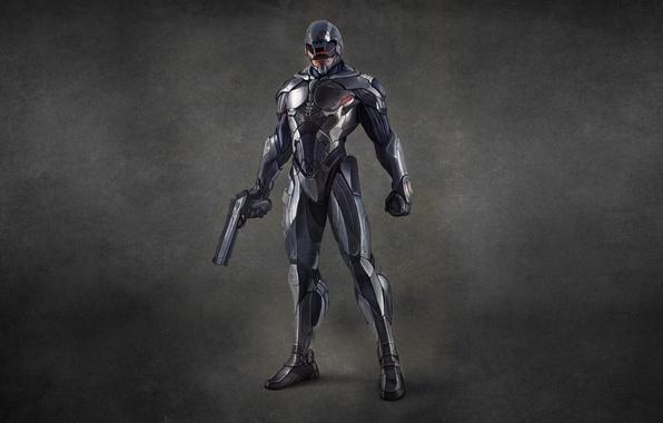 Картинка пистолет, оружие, робот, пушка, robocop, робокоп, робот полицейский