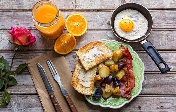 Картинка роза, апельсин, завтрак, сок, яичница, бекон, тосты, картофель