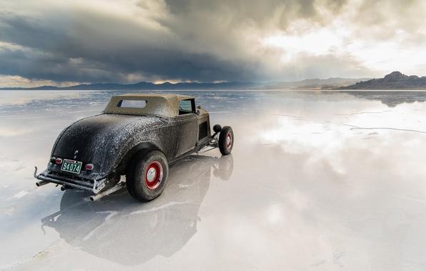 Картинка отражение, пустыня, вечер, Юта, 1933, хот род