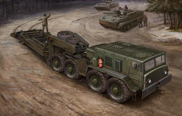 Картинка двигатель, арт, художник, Россия, военный, тягач, для, БМП-3, седельный, предназначен, транспортер, перевозки, грузов, погрузка, установлен, …