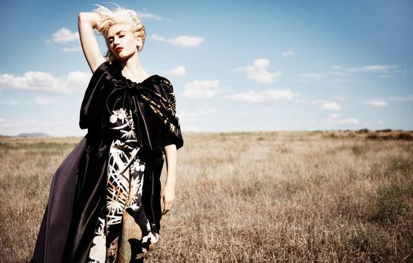 Картинка поле, трава, платье, прическа, блондинка, певица, фотосессия, американская, на природе, Gwen Stefani, InStyle, Jan Welters, …