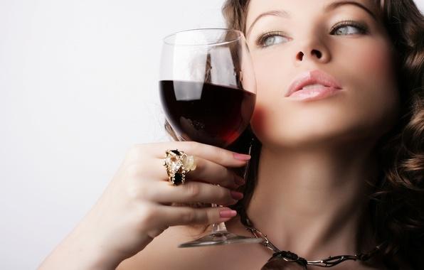 Картинка девушка, вино, бокал