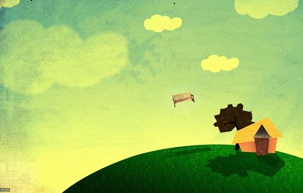 Картинка небо, облака, пейзаж, скамейка, дом, дерево, коллаж, арт, freakyframes, In right place
