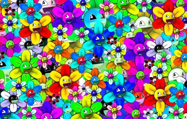 Фото обои ярко, смайлик, цветок, абстракция