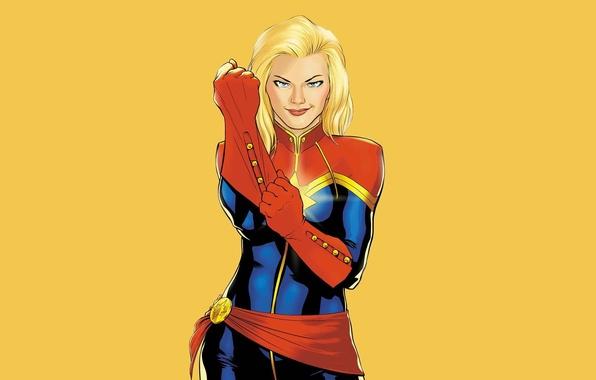 Картинка взгляд, фон, блондинка, костюм, Marvel Comics, Ms Marvel