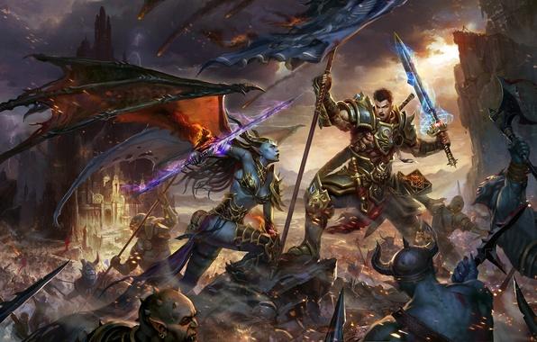 Картинка оружие, крылья, меч, воин, арт, монстры, битва, сражение, демоница, знамя