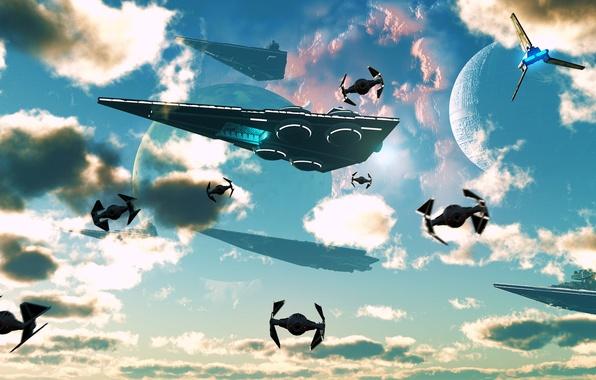 Фото обои флот, небо, корабли