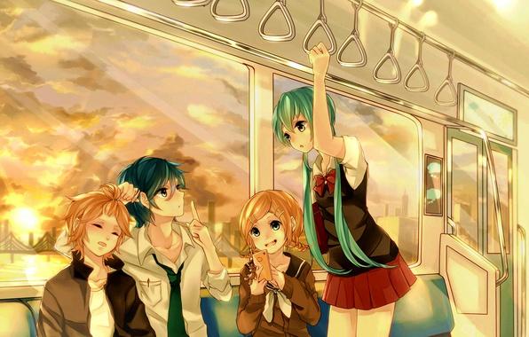 Картинка небо, солнце, облака, закат, мост, девушки, поезд, арт, вагон, мишка, телефон, парни, Hatsune Miku, брелок, ...