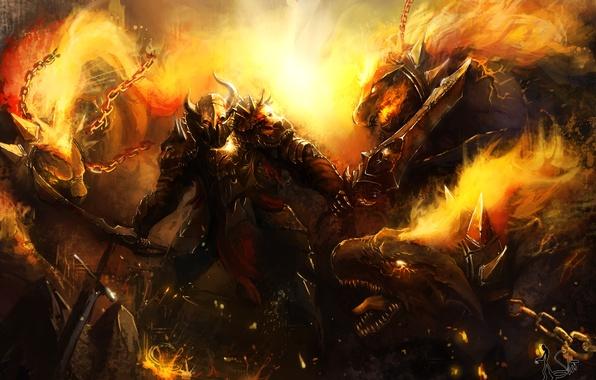 Картинка оружие, фантастика, огонь, дракон, меч, доспехи, воин, арт, цепи, dragon war