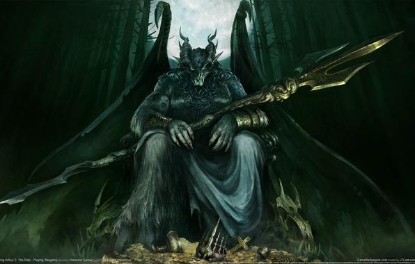 Картинка лес, оружие, луна, крылья, монстр, демон, рога, сокровище, The Role - Playing Wargame, King Arthur …