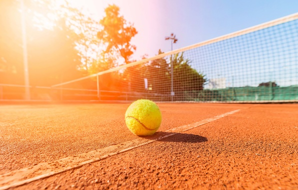 Картинка поле, лето, небо, макро, пейзаж, сетка, отдых, мяч, позитив, размытость, линия, день, summer, стадион, теннис, …