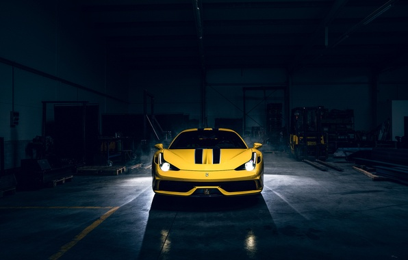 Картинка Dark, Light, Ferrari, 458, Front, Yellow, Supercar, Speciale, Garage