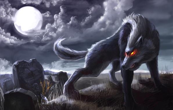 Картинка ночь, луна, паутина, Волк, надгробия, горящие глаза