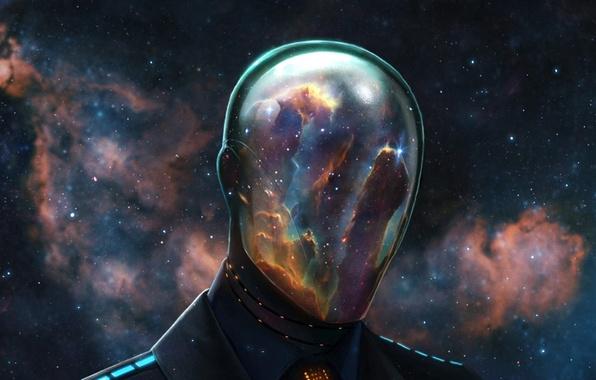Картинка космос, звезды, туманность, человек, скафандр, маска, шлем