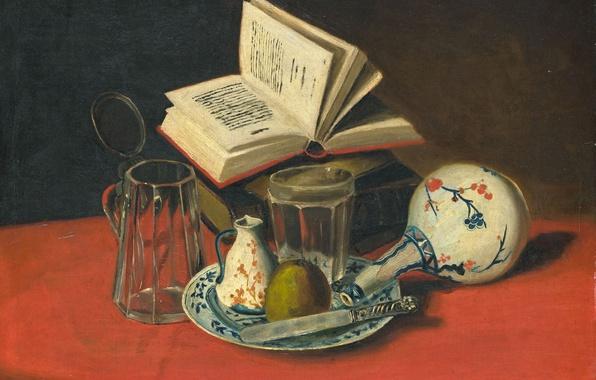Картинка стол, картина, тарелка, нож, книга, Натюрморт, J. de Clercq