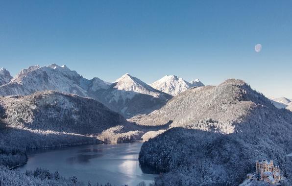 Картинка зима, лес, снег, горы, природа, озеро, замок