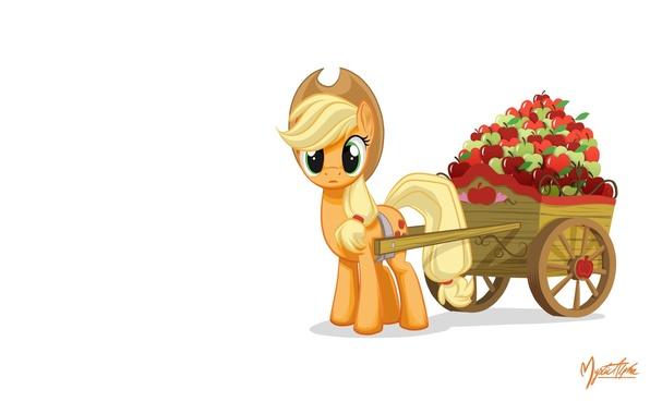 Картинка яблоки, пони, повозка, My little pony, MysticAlpha, Applejack