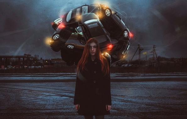 Картинка авто, девушка, арт, metamorphosis, шиномонтаж