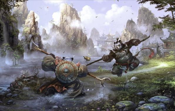 Картинка листья, пейзаж, горы, река, оружие, скалы, азия, здания, водопад, бамбук, войны, арт, панда, World of …