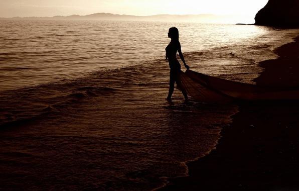 Картинка волны, пляж, лето, девушка, вечер, МоооРе
