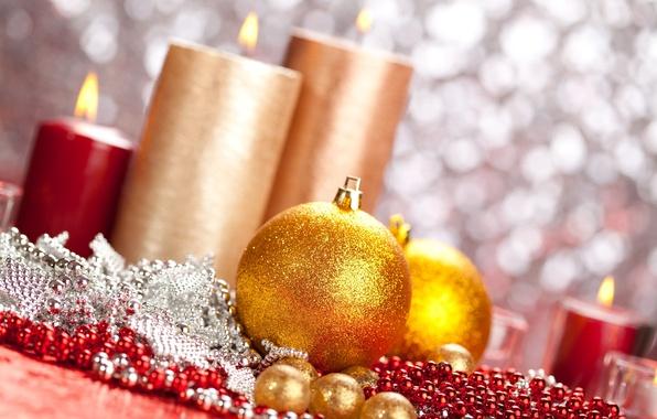 Картинка праздник, шары, игрушки, новый год, свечи, бусы, декорации, happy new year, christmas decoration, новогодние обои, …