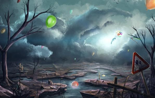 Картинка облака, птицы, река, воздушные шары, апокалипсис, человек, арт