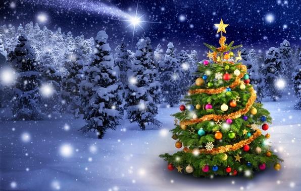 Картинка зима, снег, снежинки, игрушки, елка, Новый Год, Рождество, Christmas, winter, snow, tree, decoration, Merry