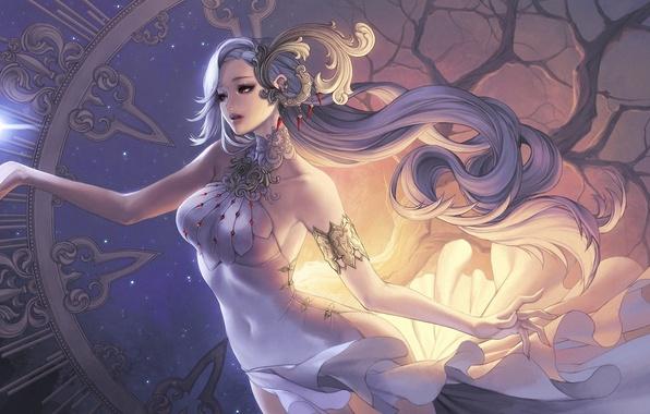 Картинка девушка, украшения, дерево, магия, рука, платье, фэнтези, арт, кристаллы, огонек, кривое