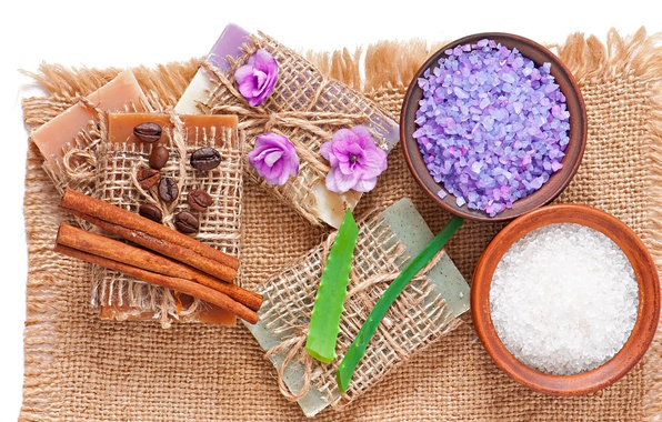 Картинка мыло, relax, soap, flowers, спа, coffee, lavender, spa, salt, natural, aloe, cloth, соль для ванны