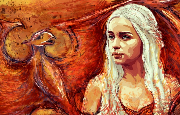 Картинка дракон, рисунок, арт, блондинка, Игра Престолов, Game of Thrones, Emilia Clarke, Daenerys Targaryen, Эмилия Кларк