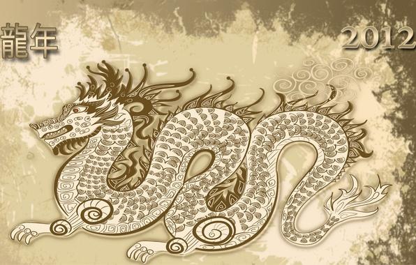 Картинка праздник, новый год, хаки, иероглифы, 2012, new year, бежевый, merry christmas, dragon, holiday, год дракона
