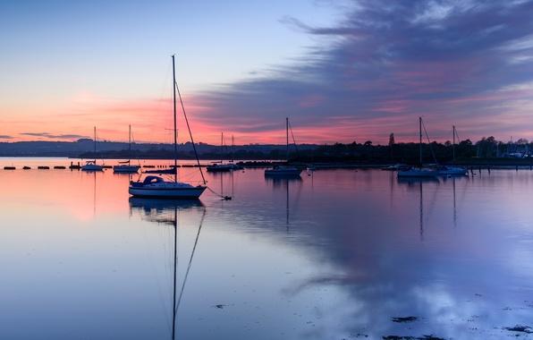 Картинка небо, облака, закат, отражение, Англия, яхты, вечер, залив, Великобритания, графство, Гэмпшир