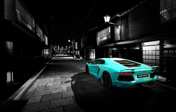 Картинка дорога, авто, Lamborghini, Машина, art, aventador