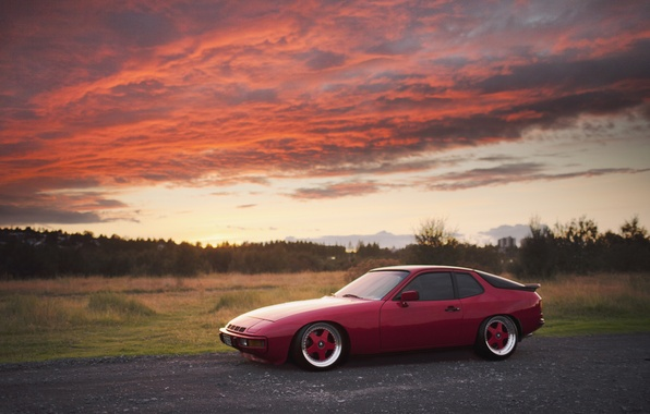 Картинка закат, красный, Porsche, red, порше, Turbo, 924