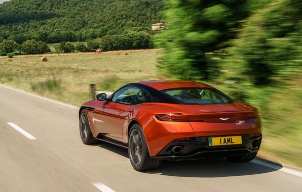 Картинка car, авто, Aston Martin, скорость, вид сзади, road, beautiful, speed, DB11
