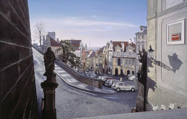 Картинка дорога, город, улица, дома, картина, поворот, Прага, Чехия, арт, фонари, ступеньки, тротуар, автомобили, Nathan Walsh, ...