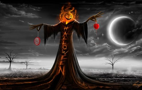 Картинка ночь, праздник, надпись, луна, тыква, хэллоуин, halloween