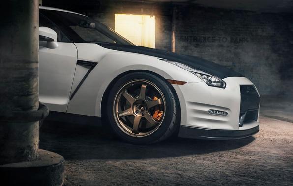Картинка Nissan, GT-R, Car, Front, White, R35, Sport, EvoG