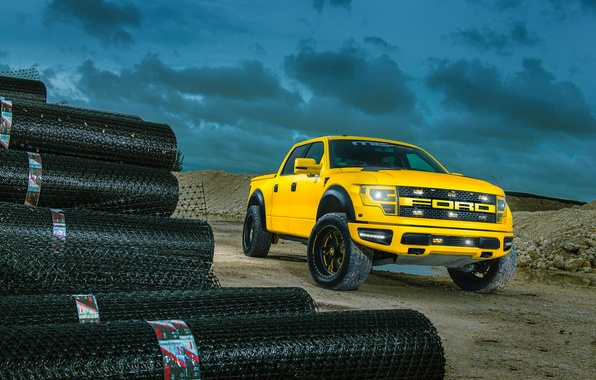 Картинка Ford, Yellow, F-150, RaptorTrax, Sub-Machine, MC Customs