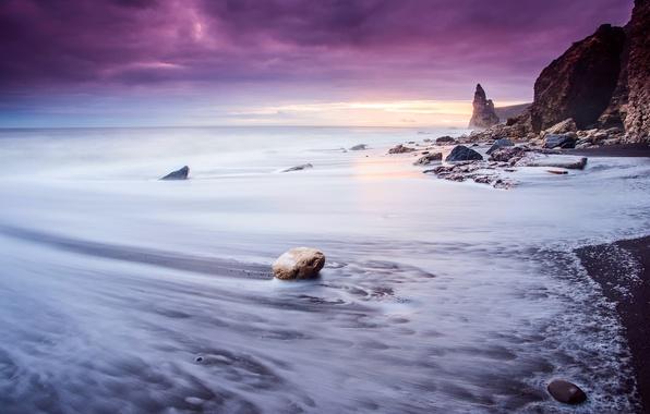 Картинка море, волны, пляж, небо, облака, свет, камни, скалы, выдержка