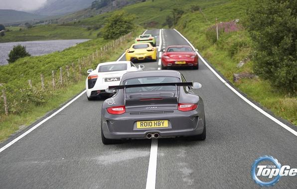 Картинка дорога, Mercedes-Benz, Lamborghini, Lexus, 911, Porsche, Феррари, Мерседес, Лексус, Top Gear, Ferrari, Superleggera, Gallardo, Порше, …